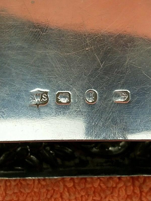 Antique Sterling Silver British Hallmarked Matchbox Case , 1890 Samuel Walton Smith