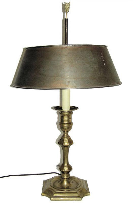 Antique Brass Bouillotte Lamp & Metal Shade