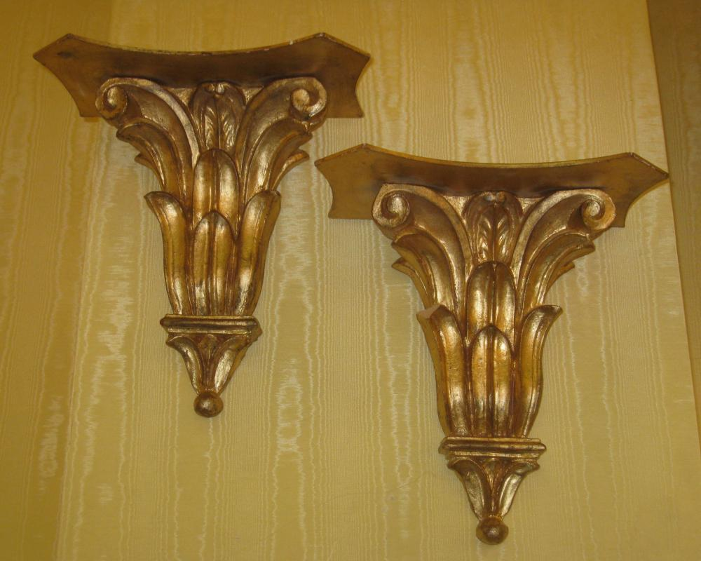 Pair Italian Neoclassical Giltwood Wall Brackets