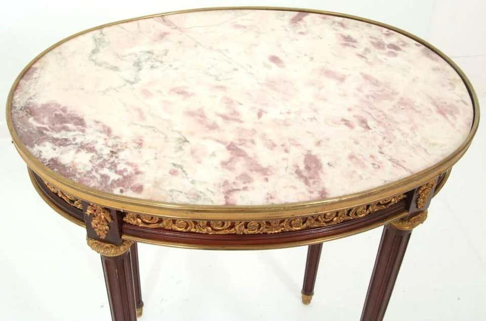 Louis XVI Style Gilt Bronze Mounted Marble Top Side Table