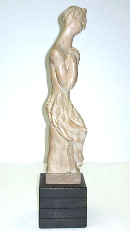 Heifetz Mid-Century Modern Limed and Sculpted Wooden Figurine of a Faun