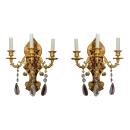 Pair Chinoiserie Gilt Bronze & Wooden Sconces