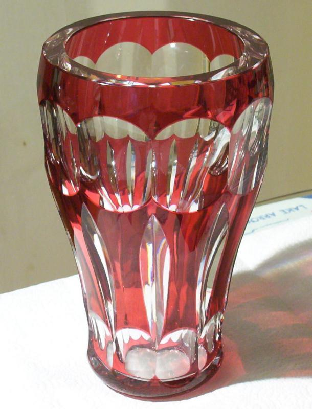 Large Bohemian Ruby Red Cut-to-Clear Glass Vase