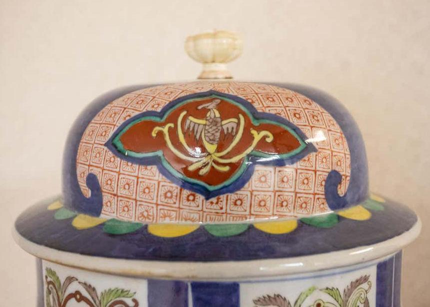 Pair Antique Meiji Japanese Imari Porcelain Lidded Vases
