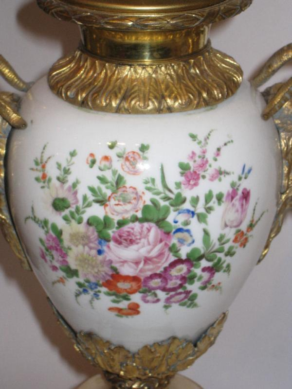 Pair Antique Floral Porcelain & Marble Table Lamps