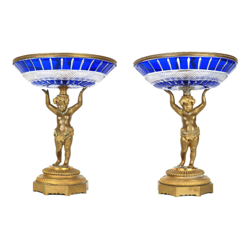 Russian Style Blue Cut Glass and Bronze Tazza Candy Dishes