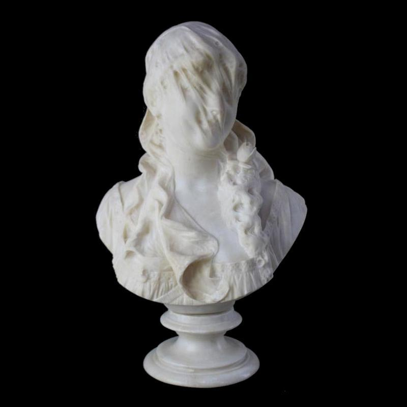 Antique Italian Alabaster Stone Bust of Veiled Woman