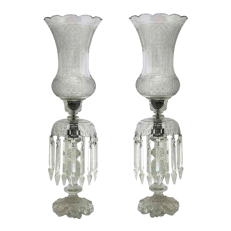 Pair Large Antique Bohemian Glass Lusters / Lustres / Lamps