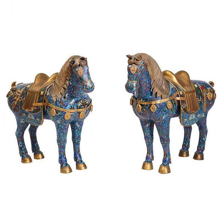 Pair Chinese Gilt Brass and Cloisonne Enamel Horses