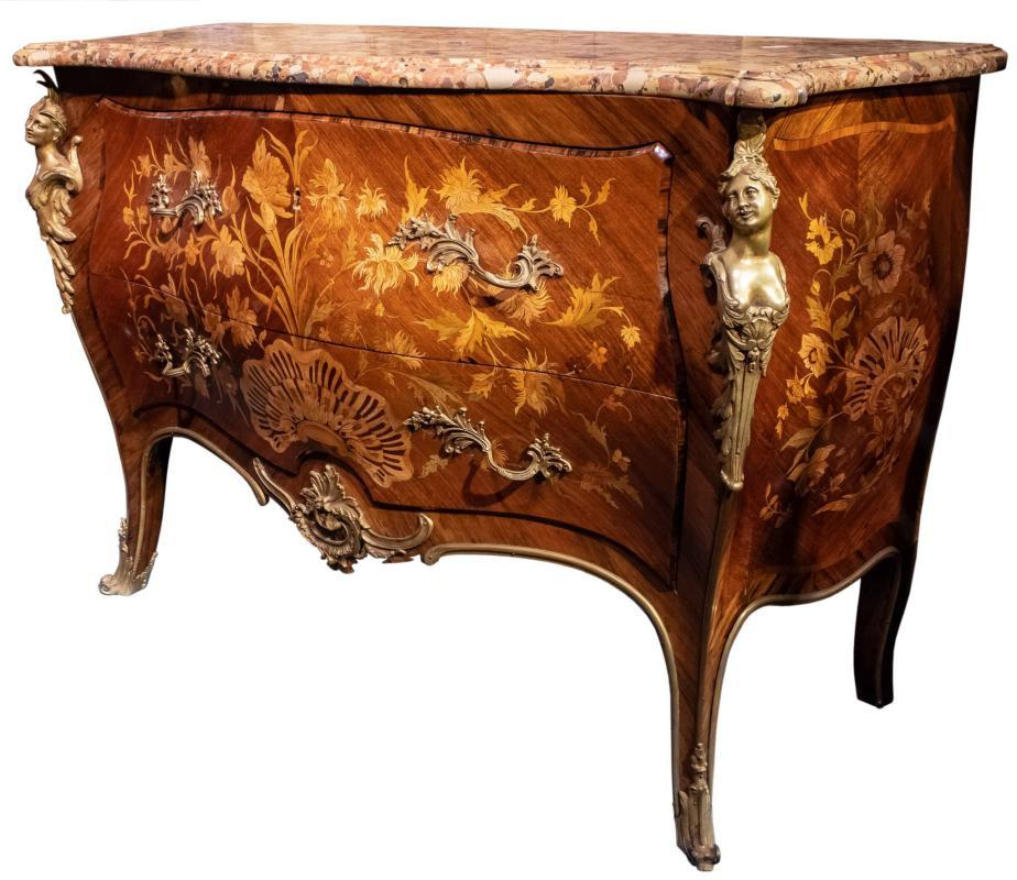 Louis XV Style Marquetry Inlaid Gilt Bronze Mounted Commode