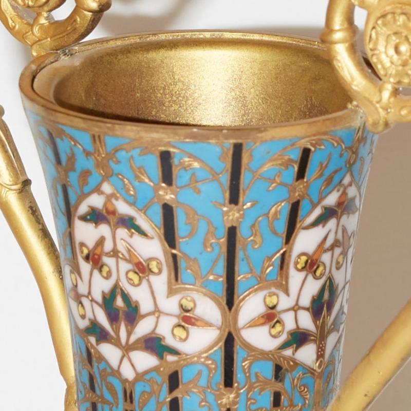 Barbedienne Champleve Enamel Gilt Bronze Vase Attributed toLouis-Constant Sevin