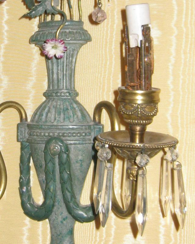 Pair Antique Classical Green Patinated Metal Sconces