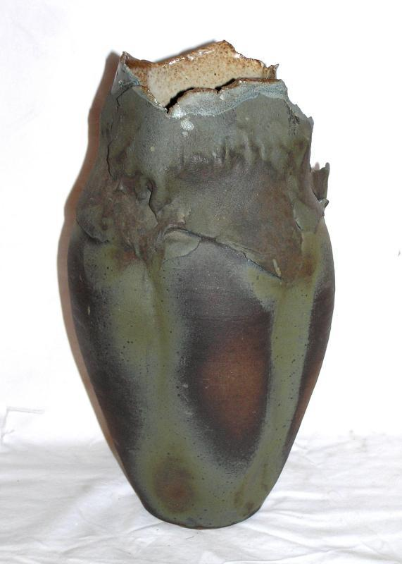 Raku Pottery Vase by Crowley