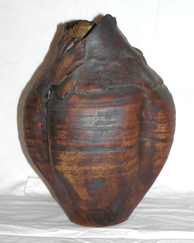 Raku Pottery Vase by Crowley
