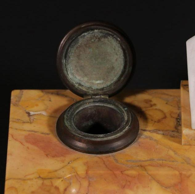 Antique Benjamin Franklin Bisque Porcelain and Siena Marble Inkwell