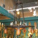 Daum Nancy Mottle Glass and Iron Art Deco Plafonnier Chandelier