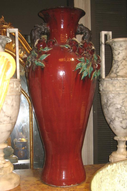 Large Arts and Crafts Pottery Vase with Berry Vines