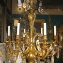 Louis XV Style Ormolu Bronze 6 Light Candelier with Rock Crystal