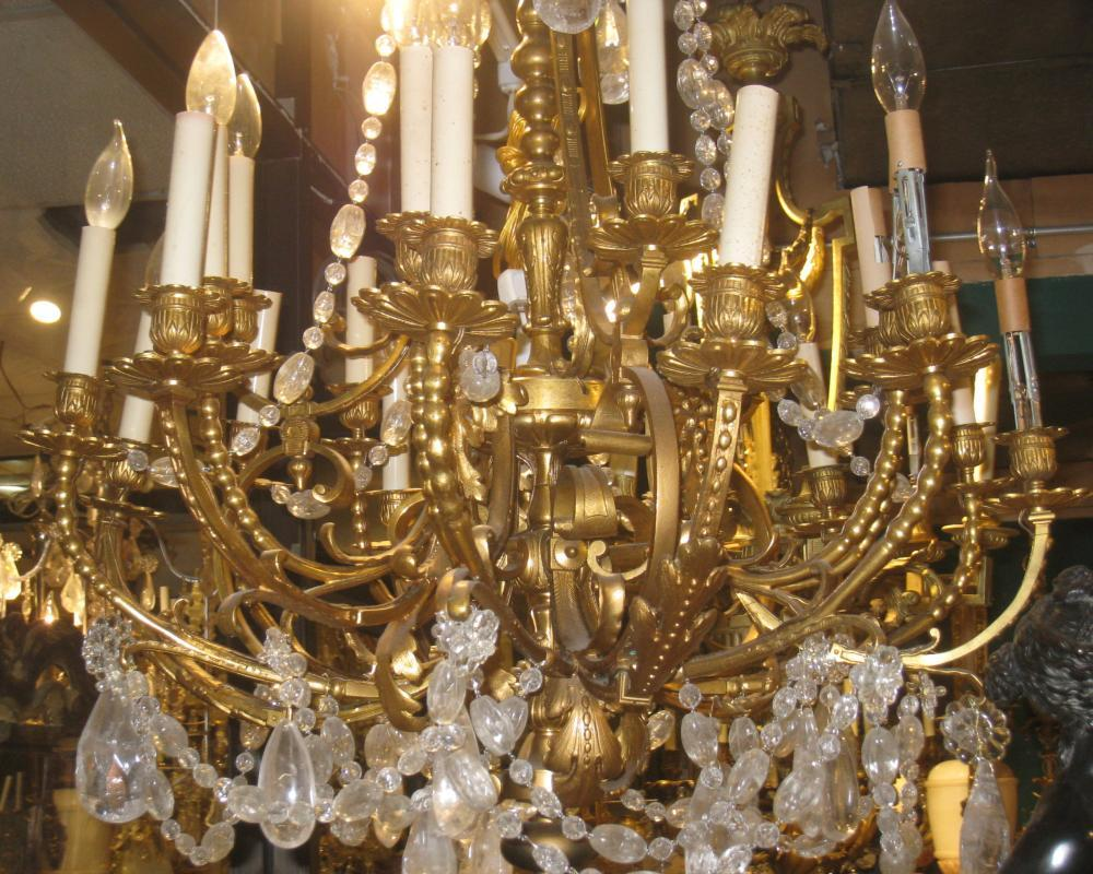 Antique Louis XV Style 16 Light Gilt Bronze Chandelier