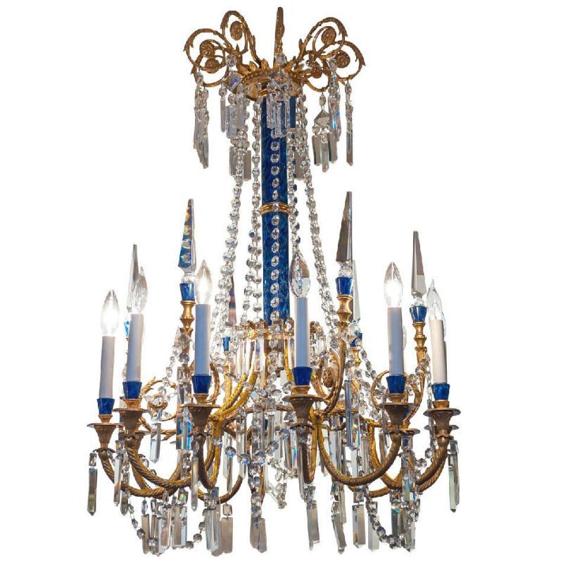 Swedish Style Gilt Bronze and Faux Lapis Lazuli Chandelier