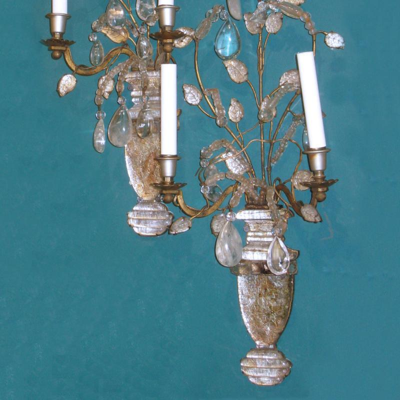 Pair Antique Bagues Baroque Style Gilt Metal and Rock Crystal Sconces