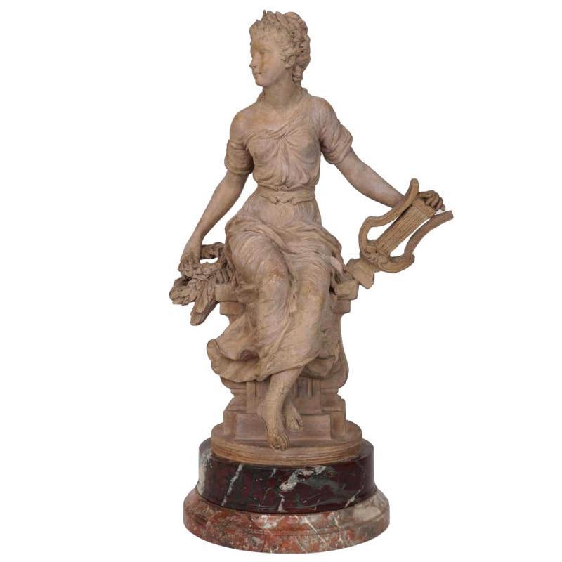 Antique Terracotta Sculpture of Greek Muse