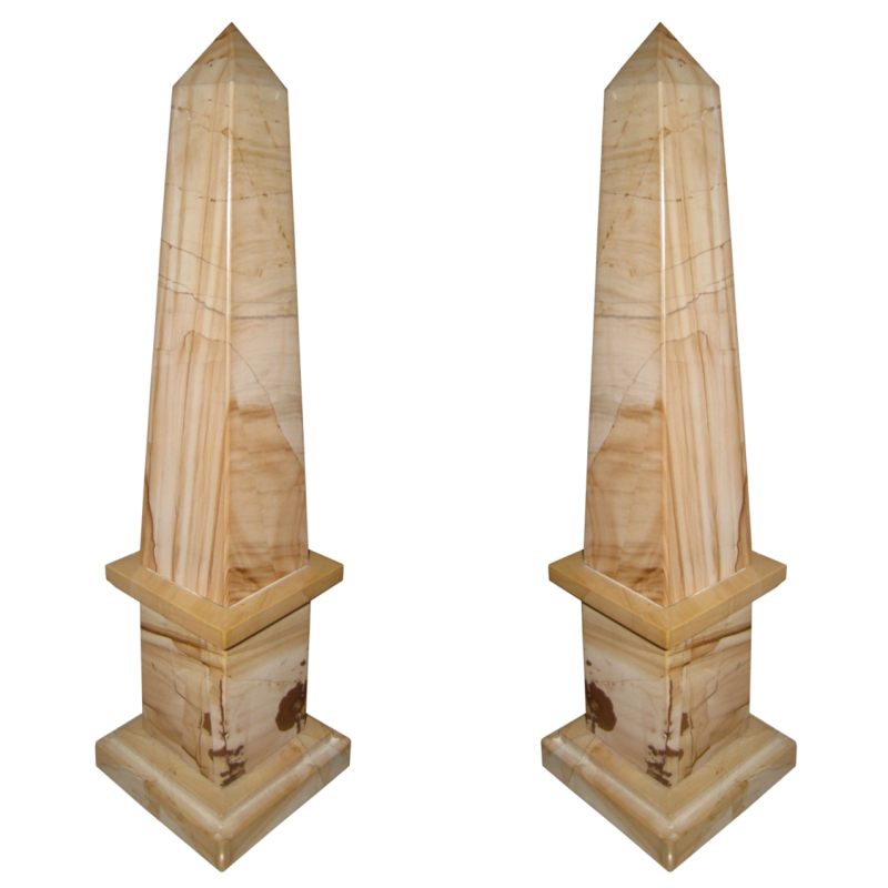 Pair Brown Marble Obelisks