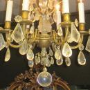 Antique Petite Bronze and Rock Crystal Chandelier