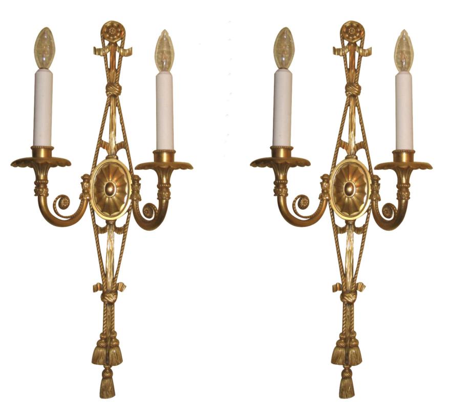 Pair Antique Robert Adam Georgian Style Gilt Bronze Sconces
