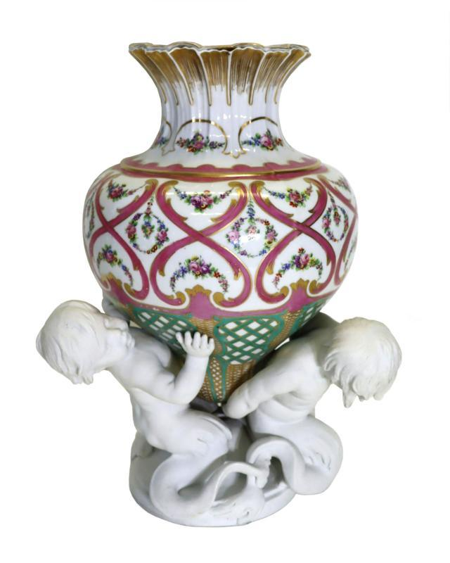 Sevres Figural Bisque and Glazed Porcelain Vase