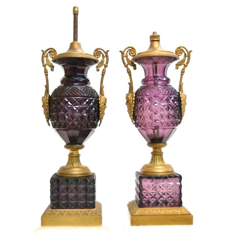 Pair Amethyst Cut Glass and Bronze Table Lamps