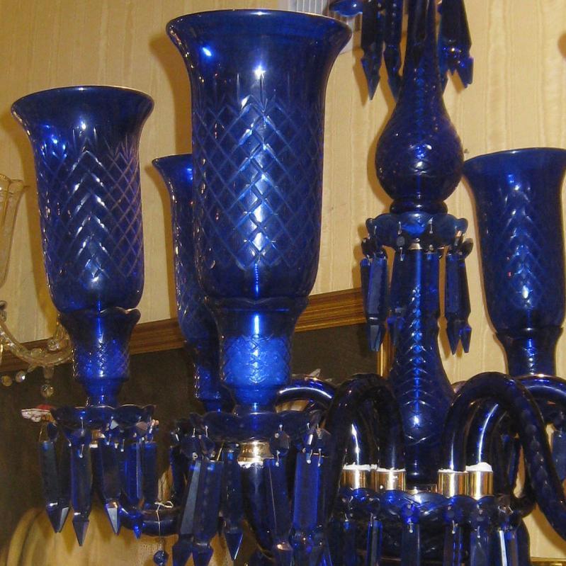 Antique Cobalt Blue Cut Glass Six Light Chandelier