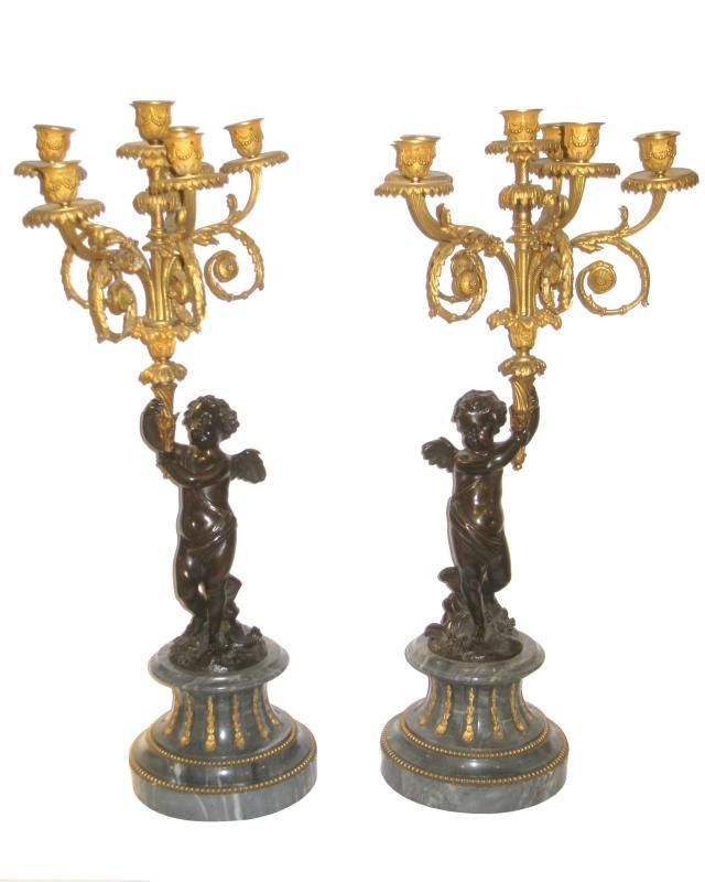 Pair Gilt Bronze Figural Candelabra on Bleu Turquin Marble