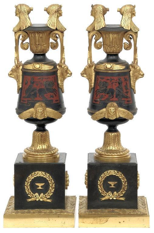 Antique Gilt and Patinated Bronze Egyptian Garniture