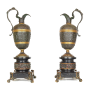 Pair Neoclassical Bronze and Marble Ewers