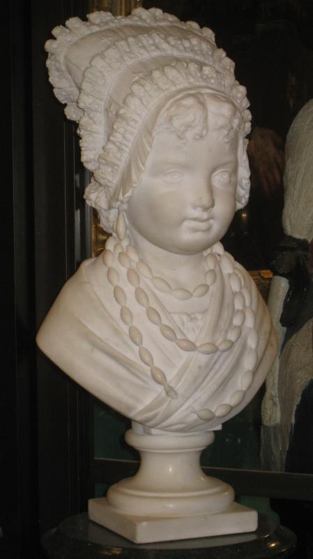 Federico Gaetano Villa Marble Bust Sculpture of Girl in Bonnet (1882)