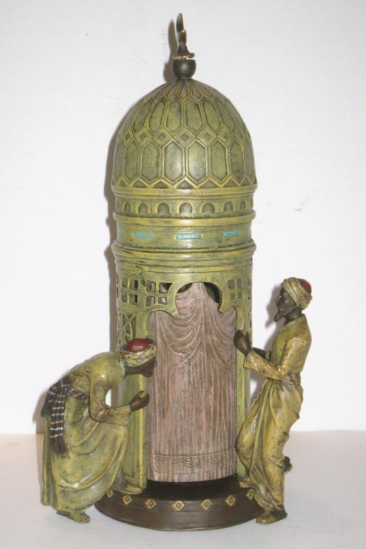 Erotic Orientalist Austrian Sculpture of Maiden in Harem Tower After Franz Bergman