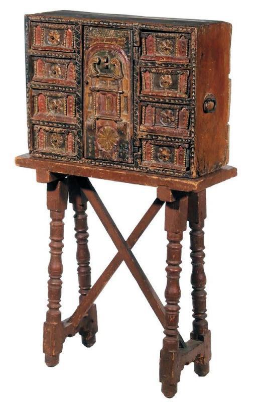 Antique (17th Century) Spanish Vargueno on Stand