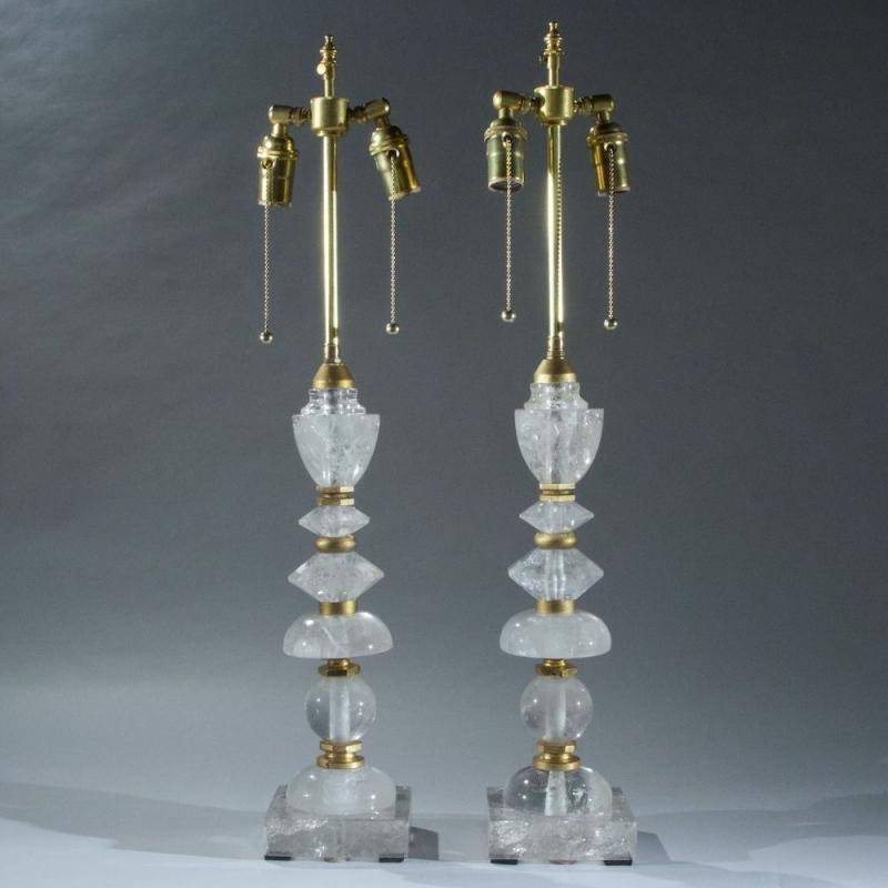 Pair Contemporary Rock Crystal and Brass Table Lamps