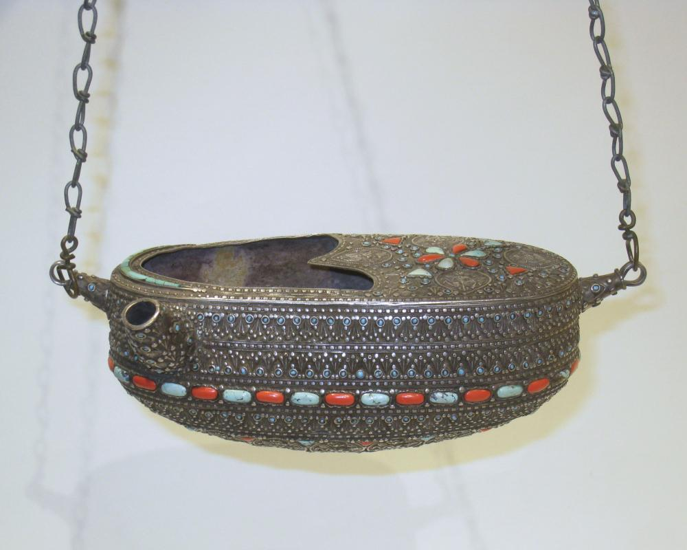 Antique Islamic Silver Kashkul Beggar's Bowl with Inlaid Turquoise and Coral
