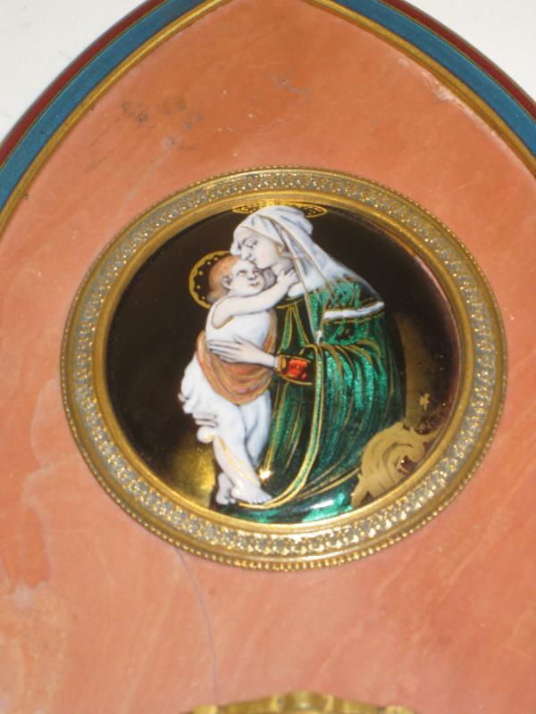 Antique Limoges Enamel and Bronze Font