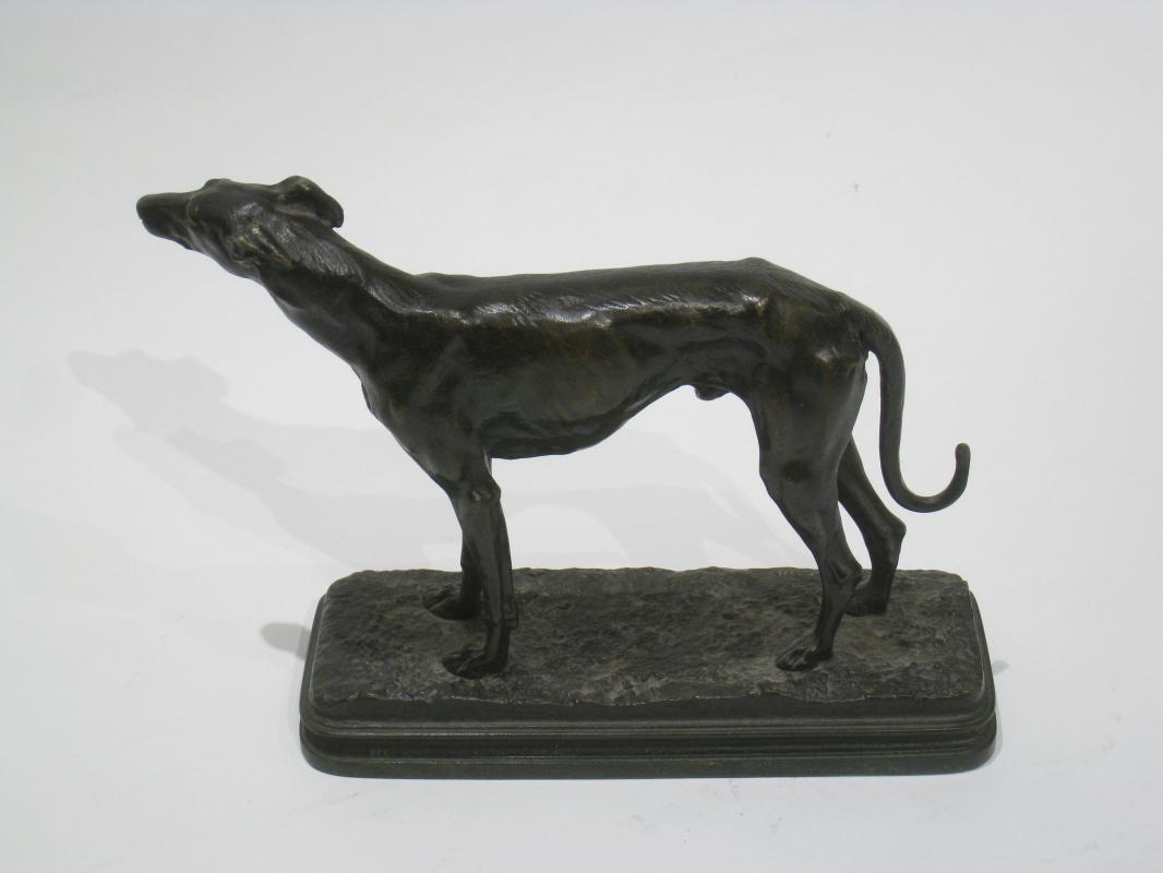 Alfred Dubucand (1828-1894) Greyhound Bronze Sculpture