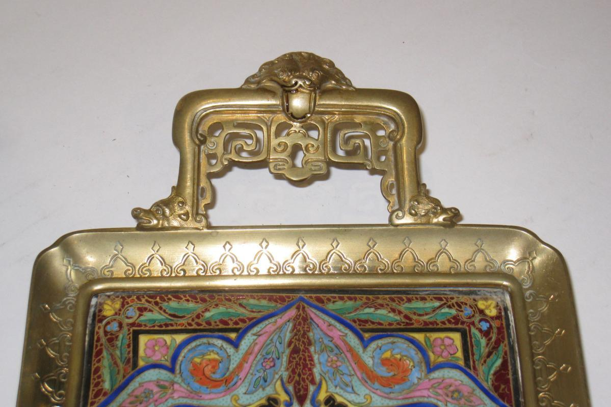 Japonisme French Champleve Enamel Bronze Serving Tray