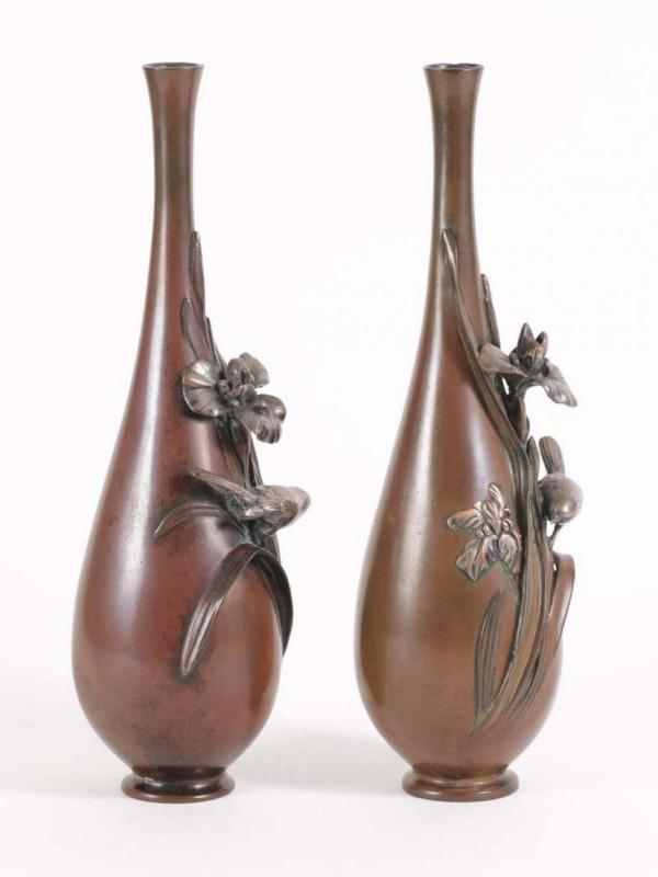 Pair Japanese Meiji Period Silvered and Patinated Bronze Iris Vases by Yonegutsu