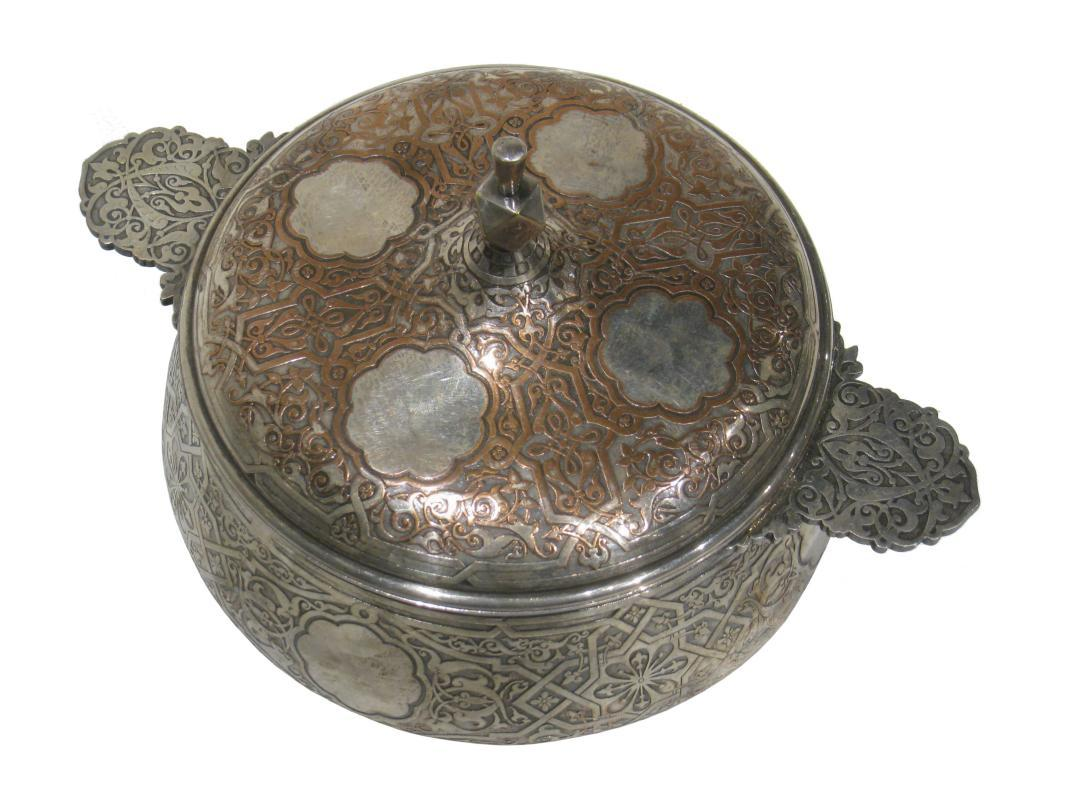 Antique Islamic Style Christofle Silvered Bronze Covered Dish