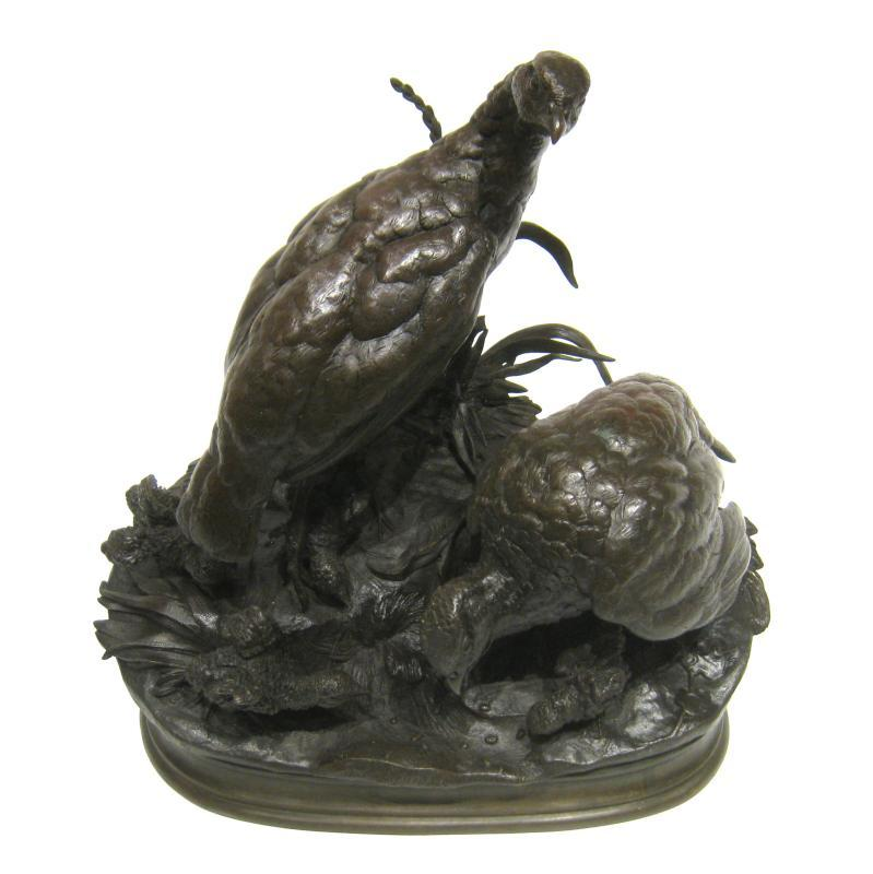 Jules Moigniez (1835-1894) Bronze Grouse Family Sculpture