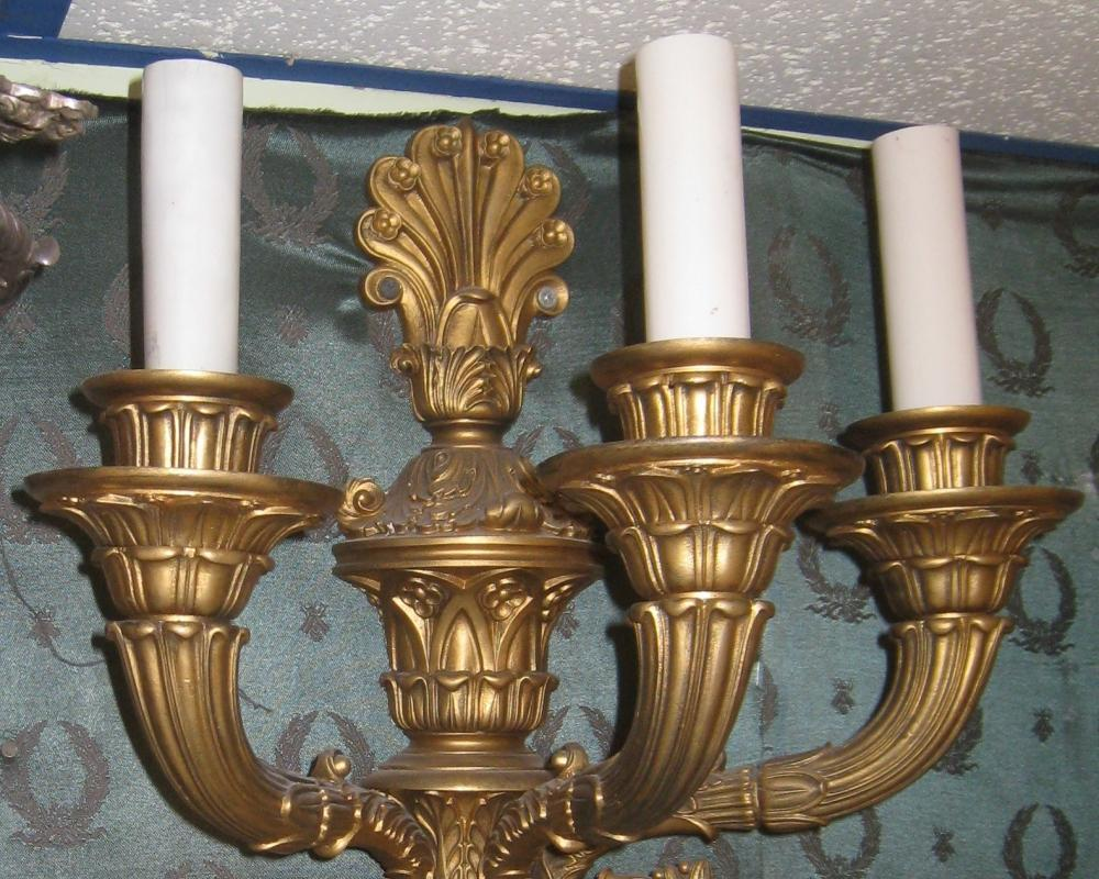 Pair Antique French Louis XVI Style Gilt Bronze Sconces