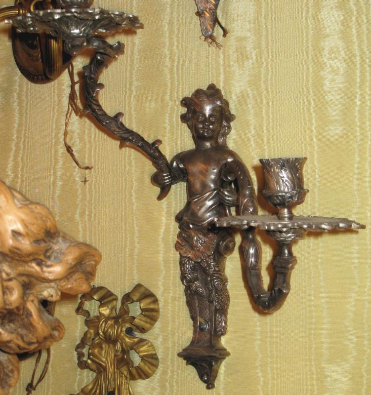 Pair French Louis XV Regence Style Sconces in Manner of Andre Charles Boulle