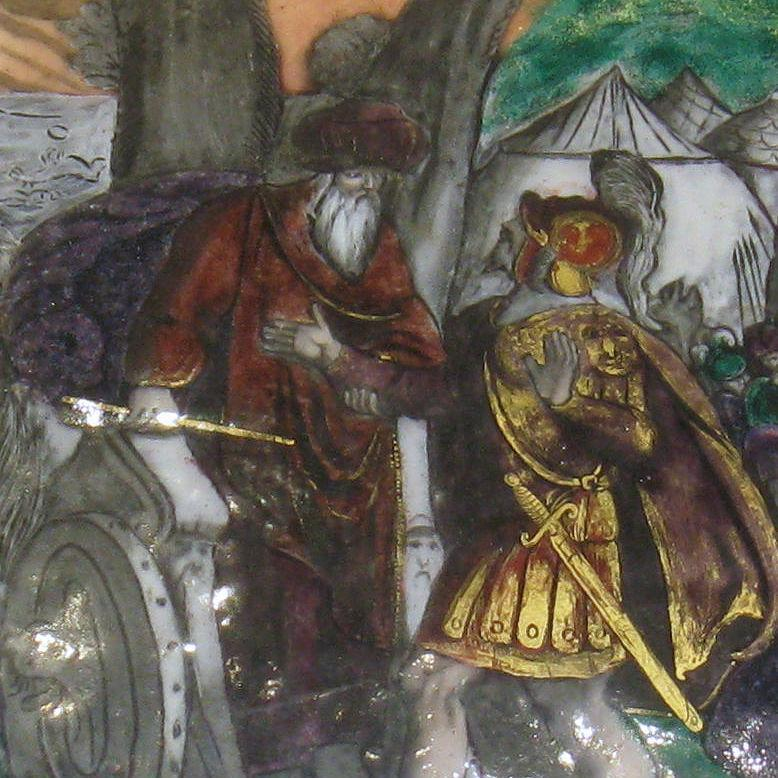 Medieval Limoges Enamel Plaque Possibly Depicting Holy Roman Emperor Frederick I