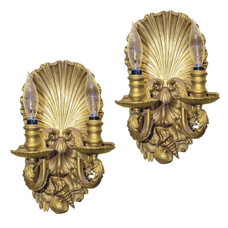 Pair Gilt Bronze Scallop Shell Form Sconces Wall Lights